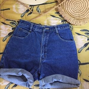 High Waisted Denim Shorts (Dark Wash)